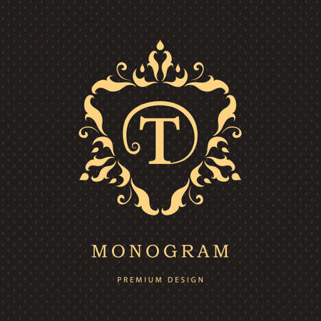 boutique hotel: Vector illustration of Monogram design elements, graceful template. Calligraphic elegant line art logo design. Letter emblem sign T for Royalty, business card, Boutique, Hotel, Restaurant, Cafe, Jewelry