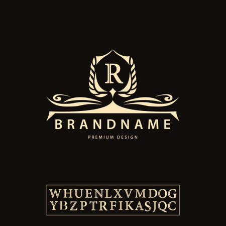 Vector illustration of Luxury Vintage logo. Business sign, label, Letter emblem R for badge, crest, Restaurant, Royalty, Boutique brand, Hotel, Heraldic, Jewellery, Fashion, Real estate, Resort, tattoo, Auctions Illusztráció
