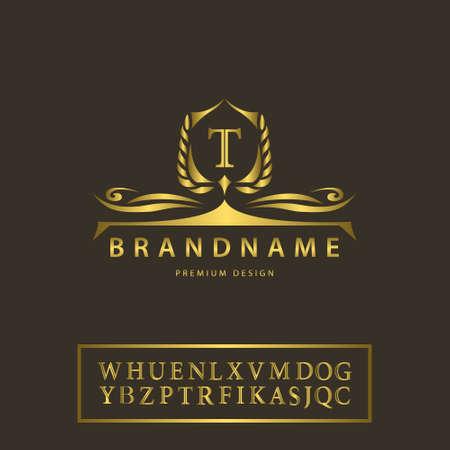 高級ビンテージ ロゴのベクター イラストです。ビジネス サイン、ラベル、バッジの文字エンブレム T クレスト、レストラン、ロイヤリティ、ブテ  イラスト・ベクター素材