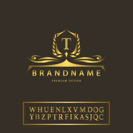 Vector illustratie van de luxe Vintage logo. Business teken, etiket, Letter embleem T voor kenteken, kam, Restaurant, Royalty, Boutique merk, Hotel, heraldische, juwelen, mode, onroerend goed, Resort, tattoo, Auctions Stockfoto - 46065735