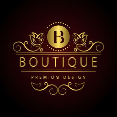 boutique hotel: Ilustración vectorial de elementos de diseño del monograma, plantilla elegante. Caligráfica elegante logotipo de la línea de arte de diseño Carta de identidad emblema B para restaurante, Realeza, Boutique, Café, Hotel, heráldico, joyería, moda, Vino