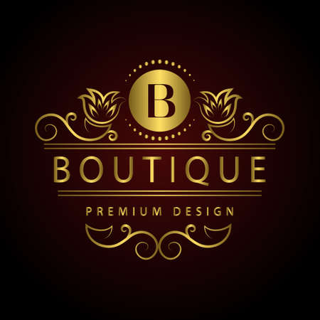 gold swirls: Vector illustration of Monogram design elements, graceful template. Calligraphic Elegant line art logo design Letter emblem B identity for Restaurant, Royalty, Boutique, Cafe, Hotel, Heraldic, Jewelry, Fashion, Wine
