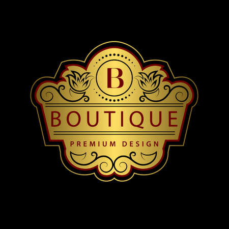 Vector illustration of Monogram design elements, graceful template. Calligraphic Elegant line art logo design Letter emblem B identity for Restaurant, Royalty, Boutique, Cafe, Hotel, Heraldic, Jewelry, Fashion, Wine