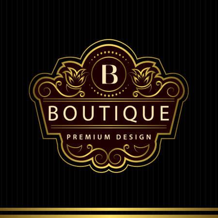 Vector illustration of Monogram design elements, graceful template. Calligraphic Elegant line art logo design Letter emblem B identity for Restaurant, Royalty, Boutique, Cafe, Hotel, Heraldic, Jewelry, Fashion, Wine