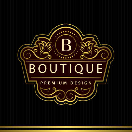 flower logo: Vector illustration of Monogram design elements, graceful template. Calligraphic Elegant line art logo design Letter emblem B identity for Restaurant, Royalty, Boutique, Cafe, Hotel, Heraldic, Jewelry, Fashion, Wine