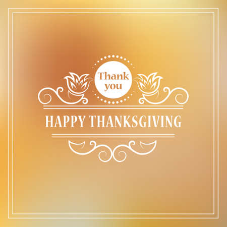 Vector illustratie van Happy Thanksgiving. Vintage kalligrafische elementen Design for Happy Thanksgiving te vieren. Typografische frame kan worden gebruikt als flyer, poster, briefkaart, banner, sticker, tag of label