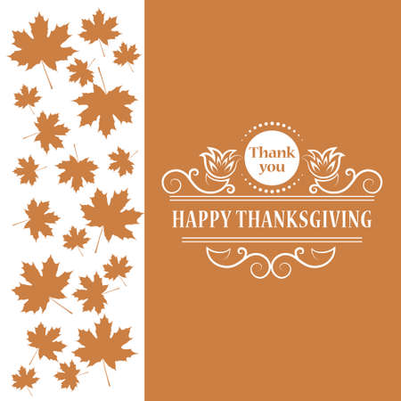 Vector illustration of Happy Thanksgiving. Maple leaf. Vintage Design for Happy Thanksgiving celebration. Typographic frame can be use as flyer, poster, postcard, banner, sticker, tag or label.