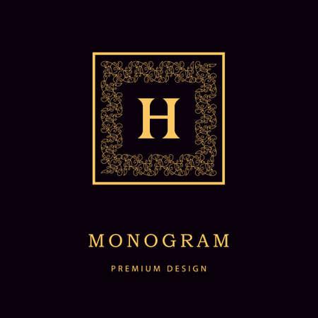Vector illustration of Monogram design elements, graceful template. Calligraphic Elegant line art logo design Letter emblem H identity for Restaurant, Royalty, Boutique, Cafe, Hotel, Heraldic, Jewelry, Fashion, Wine Vectores