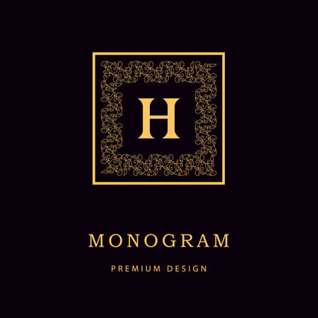 Vector illustration of Monogram design elements, graceful template. Calligraphic Elegant line art logo design Letter emblem H identity for Restaurant, Royalty, Boutique, Cafe, Hotel, Heraldic, Jewelry, Fashion, Wine Çizim