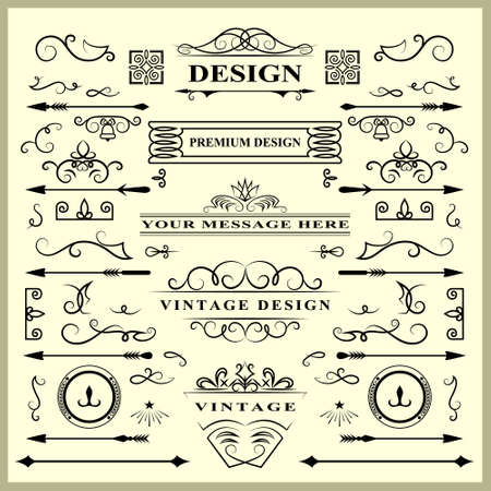 SVector illustration of et of Vintage Decorations Elements. Flourishes Calligraphic Ornaments and Frames. Retro Style Design Collection for Invitations, Banners, Posters, Placards, Badges and Logotypes Ilustração