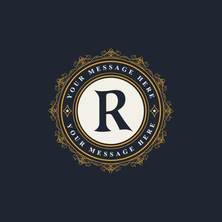 Vector illustration of Monogram design elements, graceful template. Elegant line art logo design. Emblem Letter R. Retro Vintage Insignia or Logotype. Business sign, identity, label, badge, Cafe, Hotel