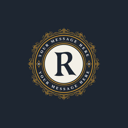 Vector illustration of Monogram design elements, graceful template. Elegant line art logo design. Emblem Letter R. Retro Vintage Insignia or Logotype. Business sign, identity, label, badge, Cafe, Hotel