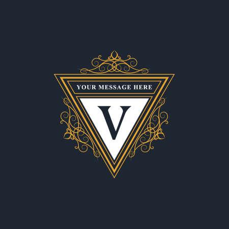 Vector illustration of Monogram design elements, graceful template. Elegant line art logo design. Emblem Letter V. Retro Vintage Insignia or Logotype. Business sign, identity, label, badge, Cafe, Hotel