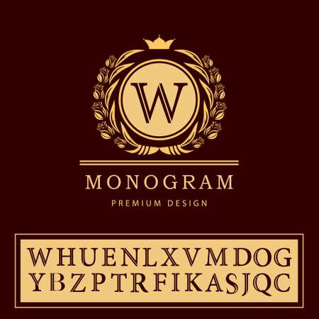 Vector illustration of Monogram design elements, graceful template. Elegant line art logo design. Letter emblem W. Retro Vintage Insignia or Logotype. Business sign, identity, label, badge, Cafe, Hotel