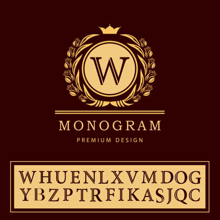 Vector illustratie van Monogram design elementen, sierlijke sjabloon. Elegante lijntekeningen logo design. Brief embleem W. Retro Vintage Insignia of Logotype. Uithangbord, identiteit, label, badge, Cafe, Hotel Stock Illustratie