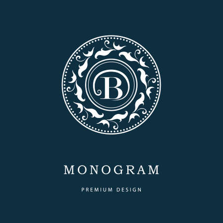 oriental background: Vector illustration of Monogram design elements, graceful template. Elegant line art logo design. Letter emblem B. Retro Vintage Insignia or Logotype. Business sign, identity, label, badge, Cafe, Hotel