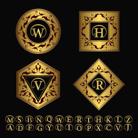 insignias: Ilustración vectorial de elementos de diseño del monograma, plantilla elegante. Línea logotipo del arte Diseño elegante. Conjunto de Oro signo de negocios, la identidad de restaurante, Realeza, Boutique, Hotel, heráldico, joyería, moda