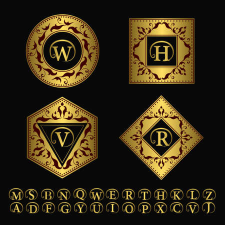 gold swirls: Vector illustration of Monogram design elements, graceful template. Elegant line art logo design. Set of Gold Business sign, identity for Restaurant, Royalty, Boutique, Hotel, Heraldic, Jewelry, Fashion Illustration