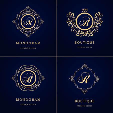 Vector illustration of Monogram design elements, graceful template. Stock Illustratie