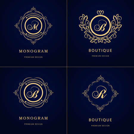 crowns: Vector illustration of Monogram design elements, graceful template. Illustration