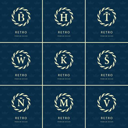 element template: Vector illustration of Monogram design elements, graceful template.