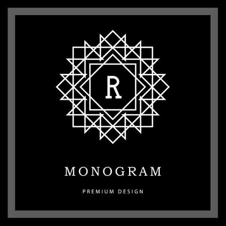 label frame: Vector illustration of Geometric Monogram logo.