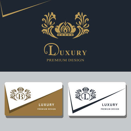 crowns: Vector illustration of Monogram design elements, graceful template. Calligraphic elegant line art logo design. Letter emblem sign B, L for Royalty, business card, Boutique, Hotel, Heraldic, Jewelry