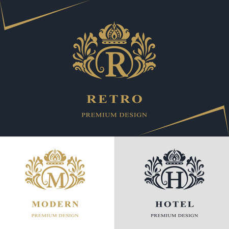 royal wedding: Vector illustration of Monogram design elements, graceful template. Calligraphic elegant line art logo design. Letter emblem sign R, M, H for Royalty, business card, Boutique, Hotel, Heraldic, Jewelry