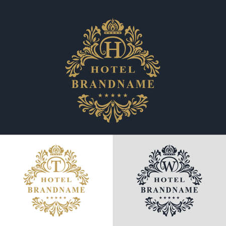 Vector illustration of Monogram design elements, graceful template. Calligraphic elegant line art logo design. Letter emblem sign T, W, H for Royalty, business card, Boutique, Hotel, Heraldic, Jewelry