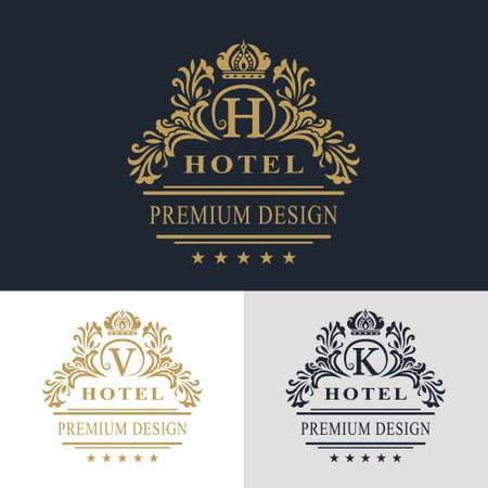モノグラム デザイン要素、優雅なテンプレートのベクター イラストです。書道の優雅なライン アートのロゴデザイン。文字エンブレム記号 V、K、  イラスト・ベクター素材