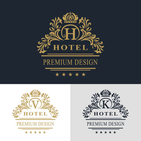 Vector illustration of Monogram design elements, graceful template. Calligraphic elegant line art logo design. Letter emblem sign V, K, H for Royalty, business card, Boutique, Hotel, Heraldic, Jewelry Çizim
