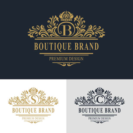 calligraphic: Vector illustration of Monogram design elements, graceful template. Calligraphic elegant line art logo design. Letter emblem sign B, S, C for Royalty, business card, Boutique, Hotel, Heraldic, Jewelry