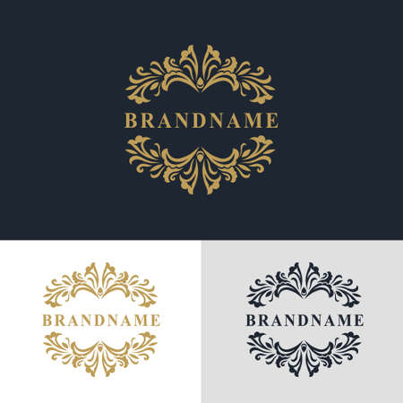 Vector illustration of Monogram design elements, graceful template. Calligraphic elegant line art logo design. Letter emblem sign for Royalty, business card, Boutique, Hotel, Heraldic, Jewelry Ilustração