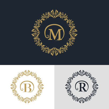 boutique hotel: Vector illustration of Monogram design elements, graceful template. Calligraphic elegant line art logo design. Letter emblem sign B, M, R for Royalty, business card, Boutique, Hotel, Heraldic, Jewelry Vectores