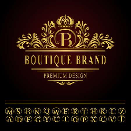 Vector illustration of Monogram design elements, graceful template. Elegant line art logo design. Business gold emblem letter B for Restaurant, Royalty, Boutique, Cafe, Hotel, Heraldic, Jewelry, Fashion Illustration