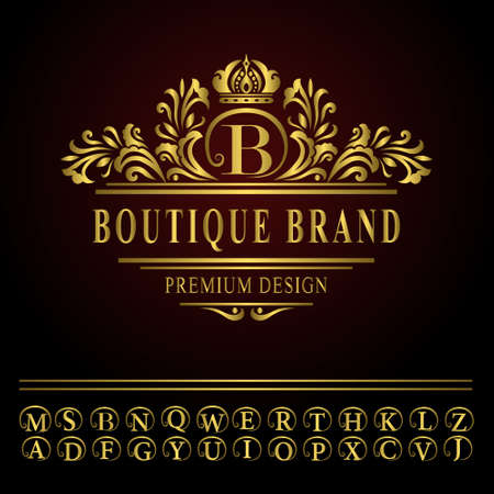 Vector illustration of Monogram design elements, graceful template. Elegant line art logo design. Business gold emblem letter B for Restaurant, Royalty, Boutique, Cafe, Hotel, Heraldic, Jewelry, Fashion Illustration