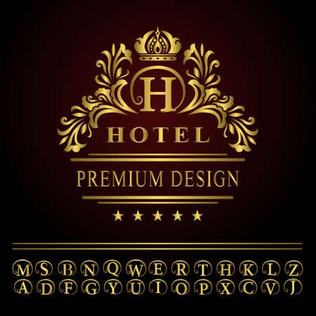 Vector illustration of Monogram design elements, graceful template. Elegant line art logo design. Business gold emblem letter H for Restaurant, Royalty, Boutique, Cafe, Hotel, Heraldic, Jewelry, Fashion