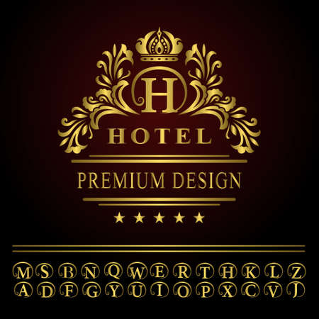 Vector illustration of Monogram design elements, graceful template. Elegant line art logo design. Business gold emblem letter H for Restaurant, Royalty, Boutique, Cafe, Hotel, Heraldic, Jewelry, Fashion