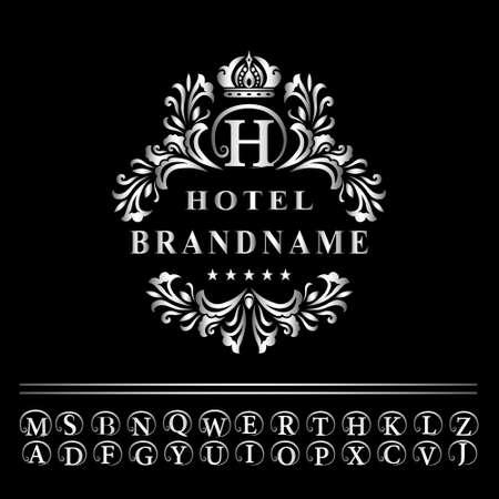 Vector illustration of Monogram design elements, graceful template. Elegant line art logo design. Business silver emblem letter H for Restaurant, Royalty, Boutique, Cafe, Hotel, Heraldic, Jewelry, Fashion Illustration