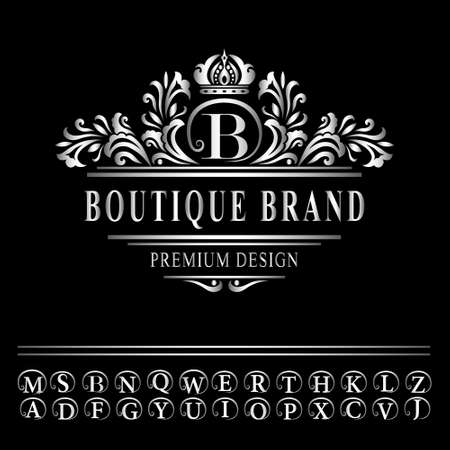 Vector illustration of Monogram design elements, graceful template. Elegant line art logo design. Business silver emblem letter B for Restaurant, Royalty, Boutique, Cafe, Hotel, Heraldic, Jewelry, Fashion Çizim