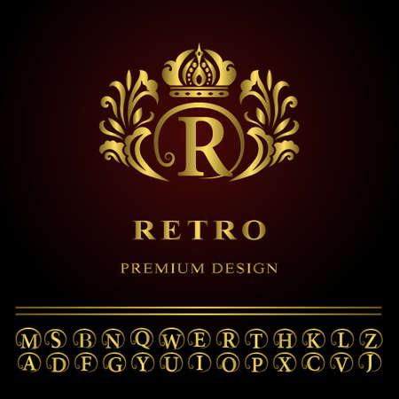 Ilustración vectorial de elementos de diseño del monograma, plantilla elegante. Línea logotipo del arte Diseño elegante. Oro empresarial carta emblema R para restaurante, Realeza, Boutique, Café, Hotel, heráldico, joyería, moda Foto de archivo - 48453492