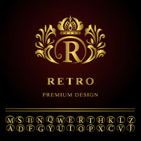 Vector illustration of Monogram design elements, graceful template. Elegant line art logo design. Business gold emblem letter R for Restaurant, Royalty, Boutique, Cafe, Hotel, Heraldic, Jewelry, Fashion