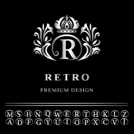 fashion art: Vector illustration of Monogram design elements, graceful template. Elegant line art logo design. Business silver emblem letter R for Restaurant, Royalty, Boutique, Cafe, Hotel, Heraldic, Jewelry, Fashion Illustration