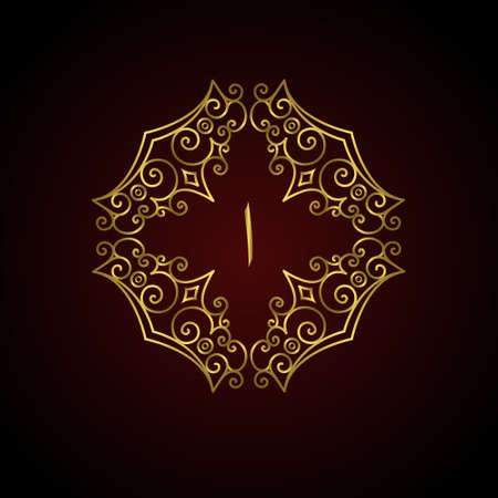 letras de oro: Ilustración del vector del marco árabe Símbolo Carta A. monograma caligráfico de la vendimia. Diseño del logotipo del arte elegante de lujo, elegante emblema plantilla. Insignia o logotipo. Rótulo de establecimiento, la identidad, la etiqueta, insignia, Cafe Hotel
