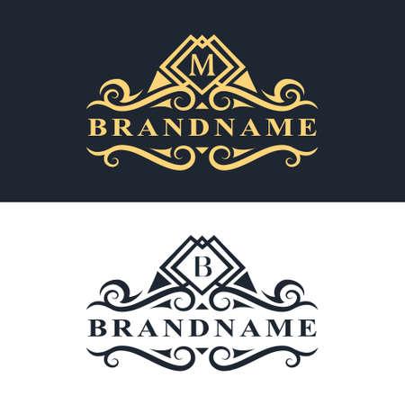 モノグラム デザイン要素、優雅なテンプレートのベクター イラストです。書道の優雅なライン アート ロゴ デザイン文字エンブレム M、レストラン  イラスト・ベクター素材