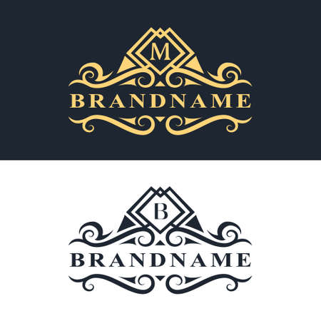 Vector illustration of Monogram design elements, graceful template. Calligraphic Elegant line art logo design Letter emblem M, B identity for Restaurant, Royalty, Boutique, Cafe, Hotel, Heraldic, Jewelry, Fashion