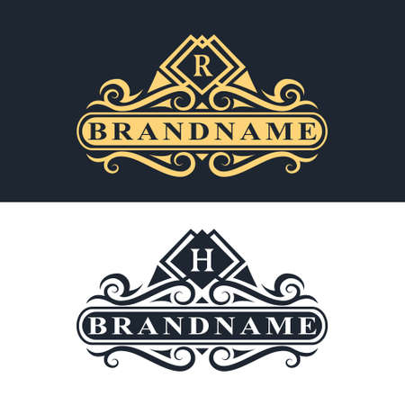 Vector illustration of Monogram design elements, graceful template. Calligraphic Elegant line art logo design Letter emblem R, H identity for Restaurant, Royalty, Boutique, Cafe, Hotel, Heraldic, Jewelry, Fashion