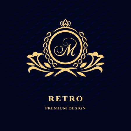 Vector illustration of Monogram design elements, graceful template. Calligraphic Elegant line art logo design Letter emblem M identity for Restaurant, Royalty, Boutique, Cafe, Hotel, Heraldic, Jewelry, Fashion, Wine
