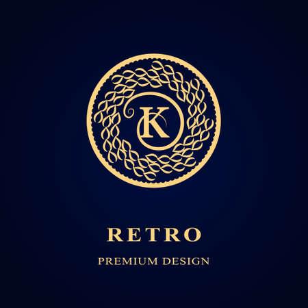 Vector illustratie van Monogram design elementen, sierlijke sjabloon. Kalligrafische Elegant lijntekeningen logo design Letter embleem K identiteit voor Restaurant, Royalty, Boutique, Cafe, Hotel, heraldisch, sieraden, mode, wijn Stockfoto - 48454131