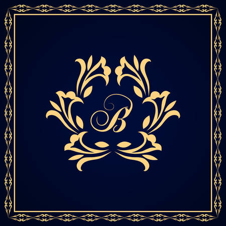 royal wedding: Vector illustration of Monogram design elements, graceful template. Calligraphic Elegant line art logo design Letter emblem B identity for Restaurant, Royalty, Boutique, Cafe, Hotel, Heraldic, Jewelry, Fashion, Wine